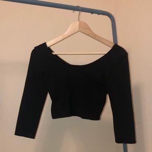 Black Charlotte Russe Crop Long Sleeve Crop Top